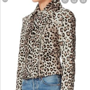 Intermix Aja Leopard-Print Goats-Hair fur Jacket